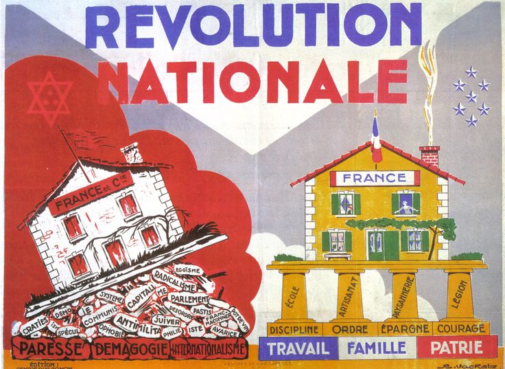 """""""La Révolution Nationale"""", affiche de propagande du gouvernement de Vichy, 1942"""