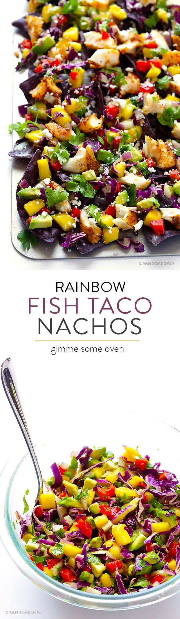 Rainbow Fish Taco Nachos -- easy to make, full of colorful tasty ingredients, and guaranteed to be the hit of the party!   gimmesomeoven.com