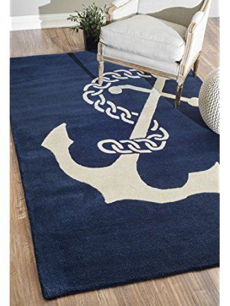 nuLOOM Varanas Collection Set Sail Contemporary Novelty Hand Made Area Rug, 5-Feet by 8-Feet, Navy ❤ nuLOOM DROPSHIP