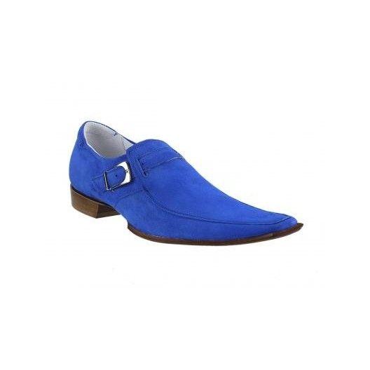 Pánske kožené extravagantné topánky modré - fashionday.eu