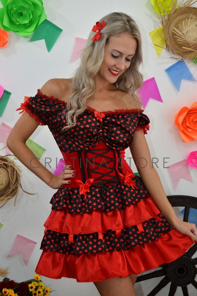Vestido Coração Vermelho/Preto - Caipira Chic
