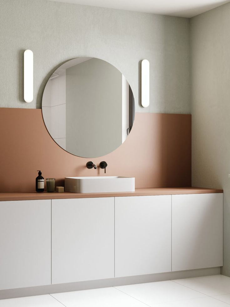 Et pourquoi pas une salle de bain rose terracotta ?