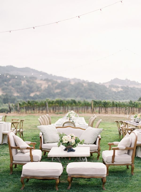 Create a lounge area  -  9 Creative Ways to Entertain Wedding Guests  on Borrowed & Blue.  Photo Credit: Jose Villa