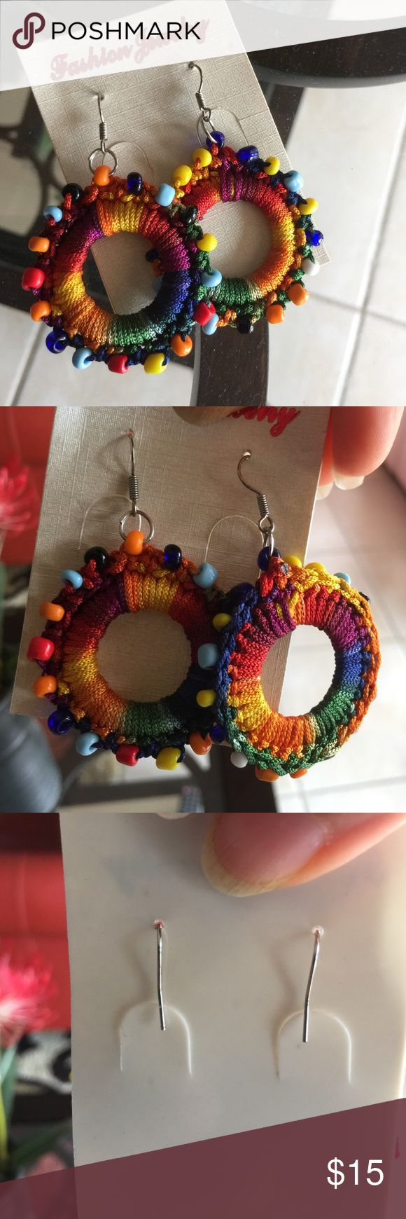 New Festive Earrings 😍 Gorgeous handmade earrings with colorful threads and cute little beads😊 Jewelry Earrings