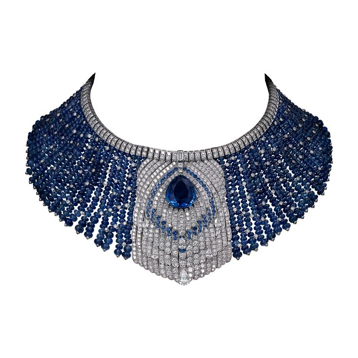 High Jewelry necklace Necklace - platinum, one 22.44-carat pear-shaped sapphire, one 1.17-carat pear-shaped diamond, sapphire beads, sapphires, one baguette-cut diamond, pear-shaped diamonds, brilliant-cut diamonds.