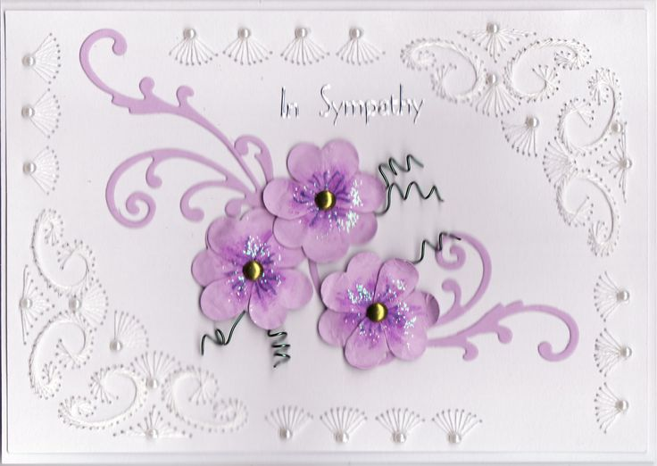 3D hand made pansies Sympathy Card with embroidery and pearls (by Tassie Scrapangel)