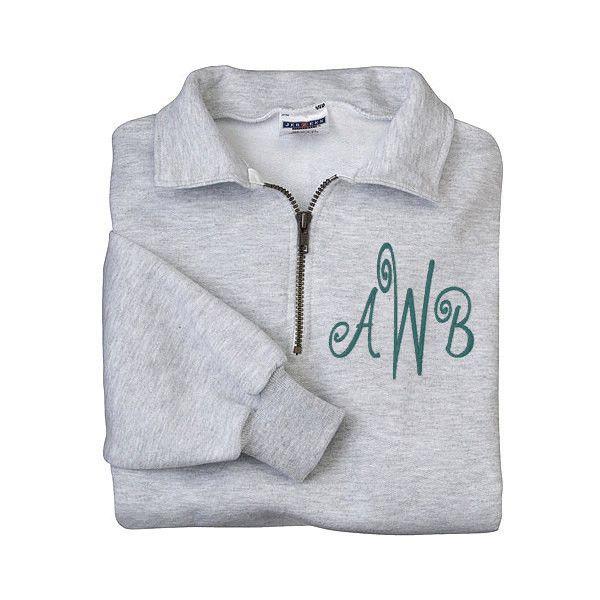 Monogram Sweatshirt Zip Pullover Half Zip Shirt Monogram Fleece Shirt... ($35) ❤ liked on Polyvore featuring tops, hoodies, sweatshirts, silver, women's clothing, monogrammed sweatshirts, sweatshirt hoodies, holiday shirts, pullover hoodie en monogrammed shirts