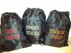 thirty one Halloween cinch sacs!!! cute idea :) contact Erica Carroll at toericacarroll@gmail.com