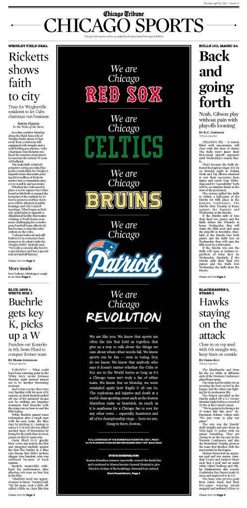 Great and heartfelt tribute from the Chicago Tribune. All of Boston and Boston Sports fans everywhere thank you.