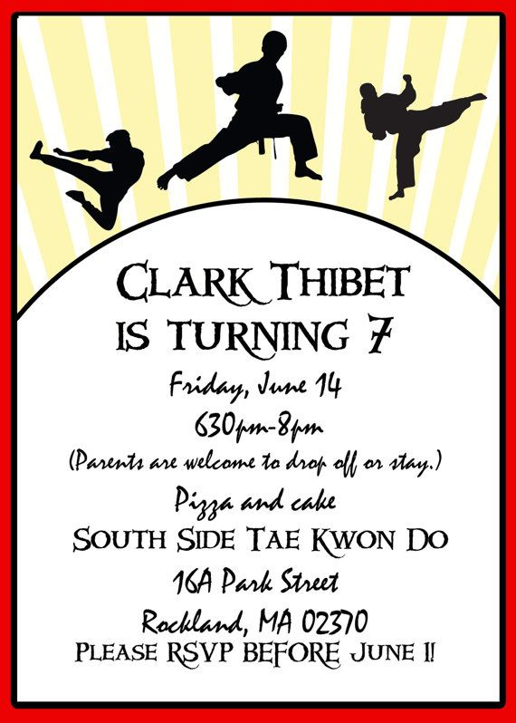 142 best Karate Taekwondo Party Ideas images – Martial Arts Birthday Invitations