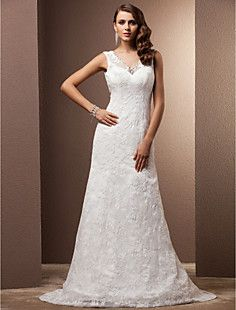 Sheath/Column V-neck Court Train Lace Wedding Dress – USD $ 147.49