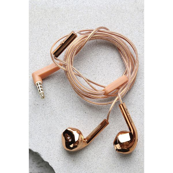 Happy Plugs Earbud Plus Rose Gold Headphones (£24) ❤ liked on Polyvore featuring accessories, tech accessories, headphones, pink, ear bud headphone, happy plugs, rose gold headphones, earbud headphones and metallic headphones