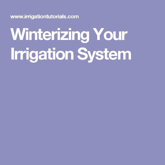 Winterizing Your Irrigation System