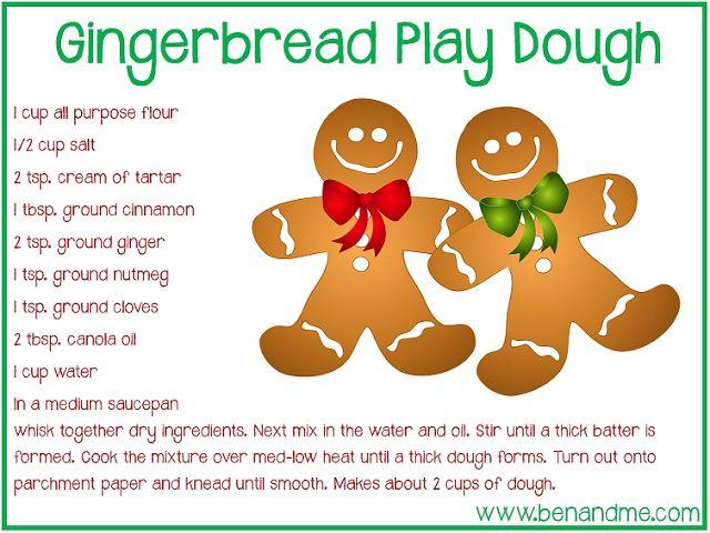 Gingerbread activities: FREE printable gingerbread Play Dough recipe.