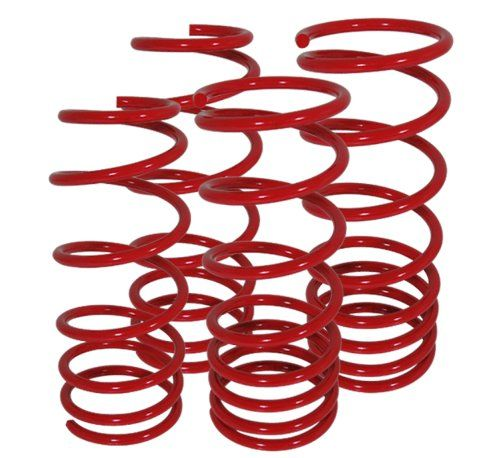 Volkswagen Golf GTI Jetta MK4 Suspension Racing Coil Drop Lower Lowering Sport Spring Kit Red  Manufacturer Part Number: LS-020RD-AMA-L1  Fitment: 1999-2005 Volkswagen Golf/Jetta (Does Not Fit VR6)  Quantity: 2 Front / 2 Rear Springs  Surface Finish: Red  Specifics: Will Require Wheel Alignment After Installation