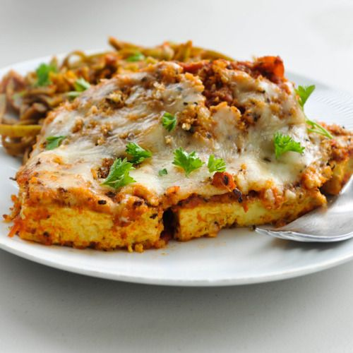 Tofu Parmigiana - $3.00 for entire meal, low carb.