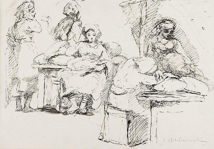 Jacek MALCZEWSKI (1854-1929)  Szkic kompozycji obrazu - odpoczynek podczas pracy, ok. 1890 piórko, tusz, papier; 20,2 x 29 cm (w świetle oprawy); sygn. p. d.: J Malczewski (ołówkiem)