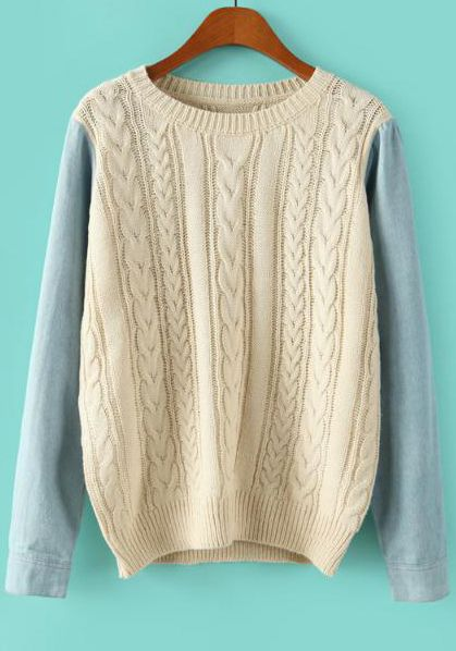 Beige Contrast Long Sleeve Cable Knit Sweater - Sheinside.com