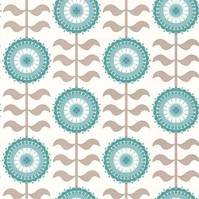 Tall Flower  (LF1015) - Layla Faye Wallpapers - An all over wallpaper design, featuring a stylised flower motif. Shown here in the turquoise twirl colourway. Other colourways are available. Please request a sample for a true colour match. Paste-the-wall product. Pattern repeat is 26.5cm, not as stated below.