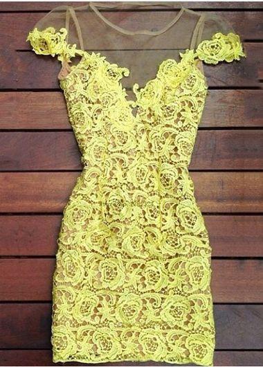 Sweet Yellow Lace Splicing Mini Dress for Woman