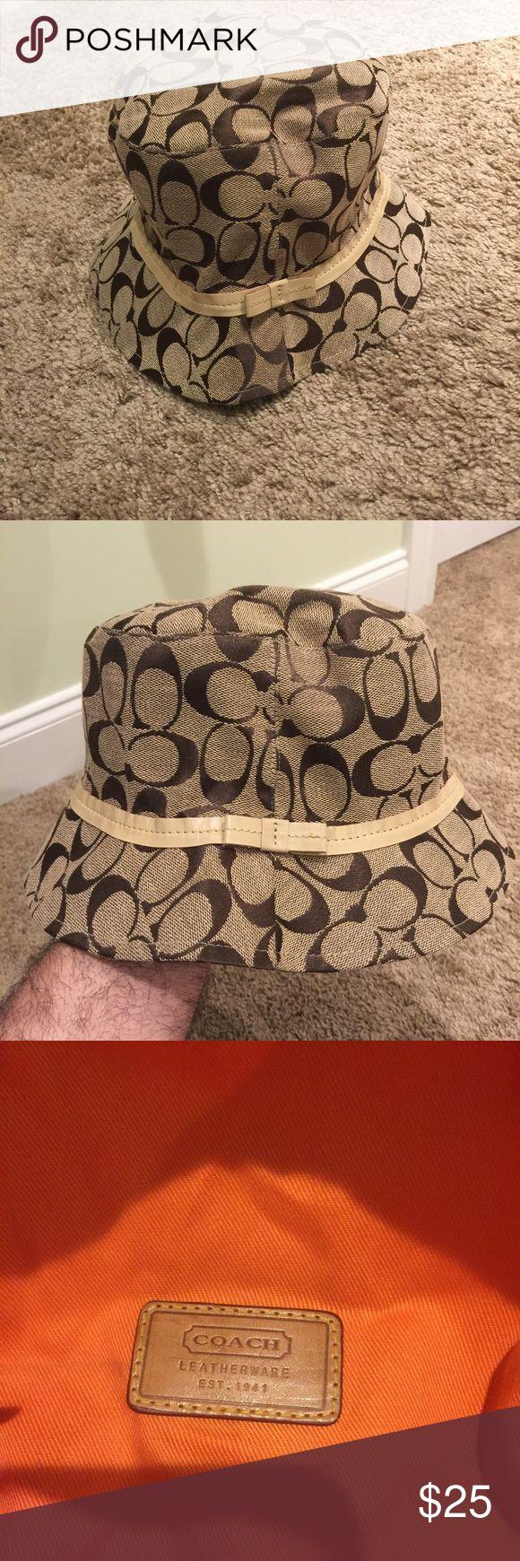 Authentic Coach Tan Logo Brown C Bucket Hat Great Coach Hat. Coach Accessories Hats