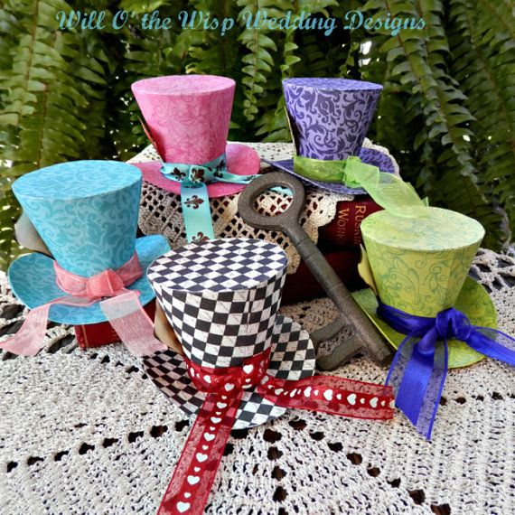 2 5 alice in wonderland mini top hats set of 5 favors for Mad hatter party props
