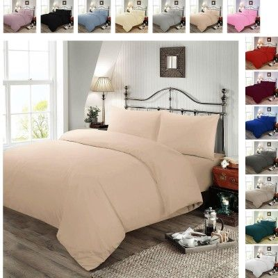 Plain Dyed Polycotton Duvet Cover with Pillow Case Set - Oyster