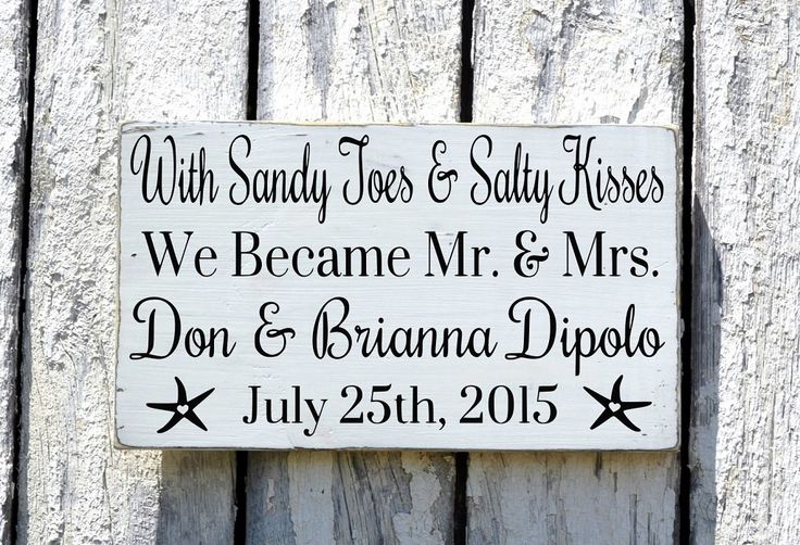 Sandy Toes And Salty Kisses Beach Wedding Sign Mr and Mrs Personalized Wedding Gift Gray Nautical Weddings Decorations Signage Anniversary
