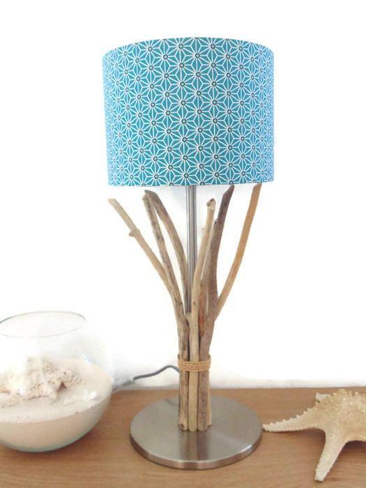 lampe en bois flotté - abat-jour cylindre 25cm -  modèle unique
