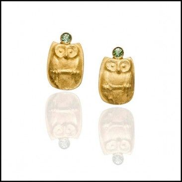 Owl Earrings, by Linda Kindler Priest Repoussé Jewelry. Via lkindlerpriest.com