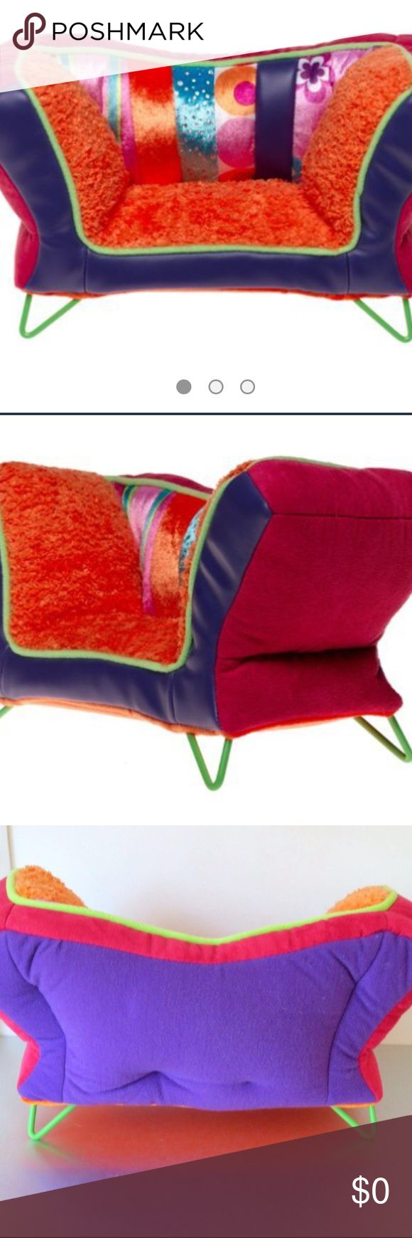 Groovy Girls Groovy Style Suoernova Sofa Groovy Girls Groovy Style Supernova Sofa (Collectible and not available).Decorate your Groovy Girls living room area with this Wild & wacky Sofa.Made of polyester, polyurethane & wire, this brightly colored stuffed toy shaped like a Sofa sports an eye popping color scheme of orange, blue, green, fuchsia & purple.Four lime green wire legs hold the piece in place just waiting for a groovy doll (sold separately). 6Hx12Wx5L PERFECT CONDITION. (Look for…
