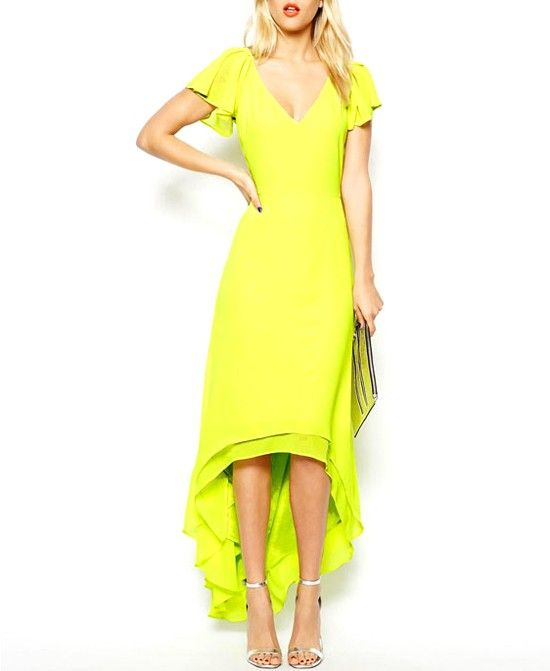 Flouncing Sleeves Double Layer Yellow Dress With Forked Tail