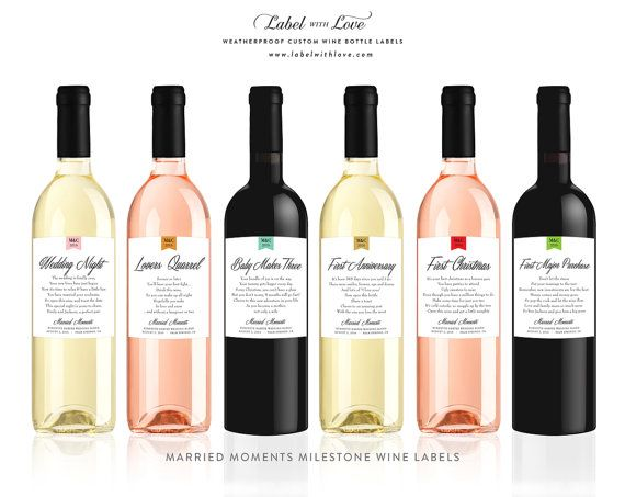 Want an original (and delicious) gift for the special bride to be? Our set of Married Milestones Wine Labels, paired with the brides favorite