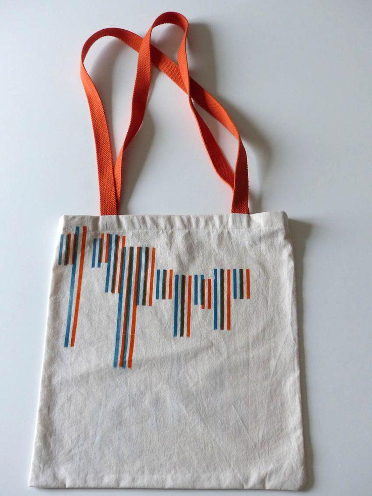 Série Tote bag  été 2016, impression ornements bois bicolore, recto verso  letterpress