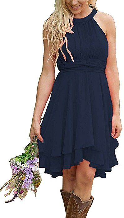 4ddd6f56b6ac Meledy Women's Knee Length Country Bridesmaid Dresses Western Wedding Guest  Dresses Short Maid of Honor Gown Navy US0 at Amazon Women's Clothing store: