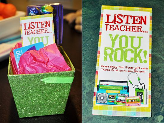 Cute teacher gift idea. iTunes gift certificate holder