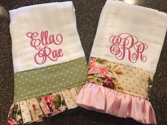 Personalized Baby Girl Burp Cloth Flower Set Monogram Burp Cloths Pinks /& Browns