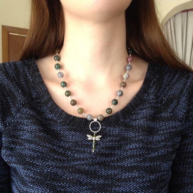 #healingnecklace #dragonflyjewelry #naturenecklace #handmadenecklace #beadednecklace https://www.etsy.com/ca/listing/278528628/healing-chakra-stone-pendant-necklace