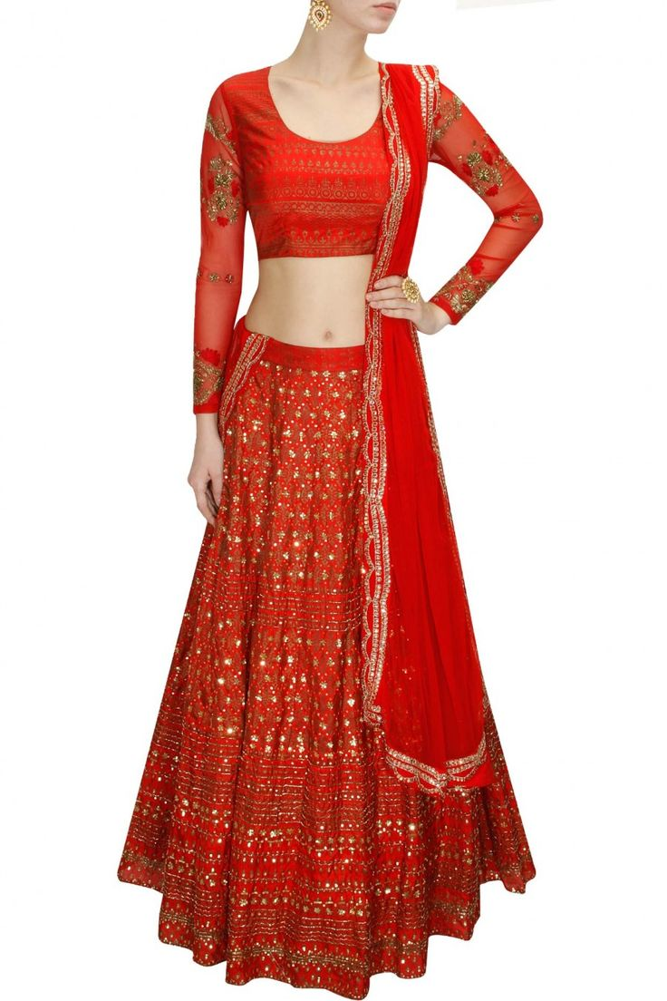 Red block print gold embroidered lehenga set available only at Pernia's Pop-Up Shop.