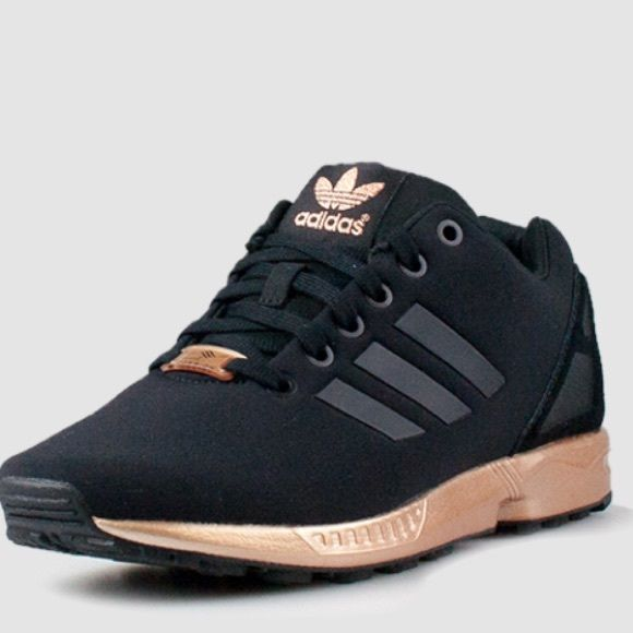 Women's Adidas Originals Zx Flux Torsion Brand new with box/receipt. Released Jan 2016 and not sold in stores anymore! Never worn. Size 8.5 womens. Black/Copper. Pics are from adidas website to show the color more clearly. NO TRADES. Adidas Shoes Sneakers