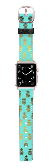 Casetify Apple Watch Band (38mm) Saffiano Leather Watch Band - Golden Pineapples by Allison Reich USE CODE: R7RAGW & GET DISCOUNT! #applewatchband #applewatch #watchband #pineapples #pineapple #turquoise #cute #style #spring #love #fashionaccessories #xoxo