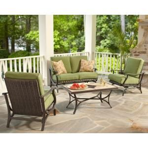 Hampton Bay Pembrey All Weather Wicker Patio Conversation Set With Moss  Cushions At The Home Depot   Mobile