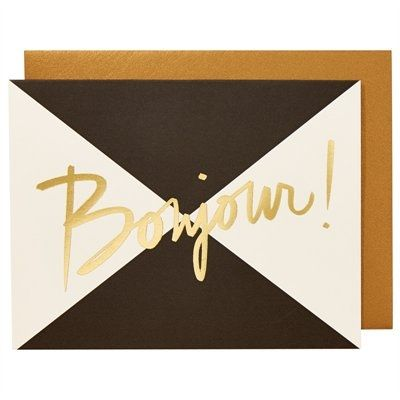 black and white greeting card can framed and used as wall art. cursive gold Bonjour. #StyleYourWall
