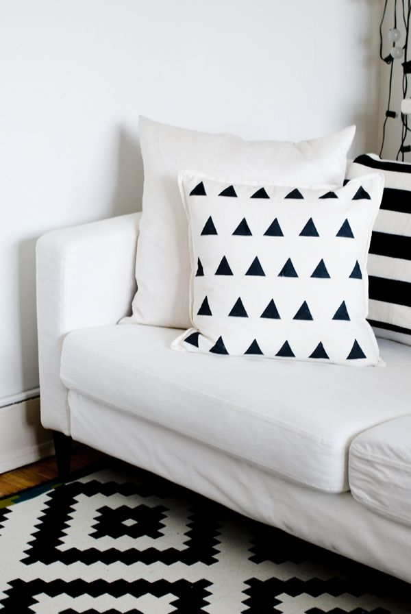 DIY potato stamped triangle pillow