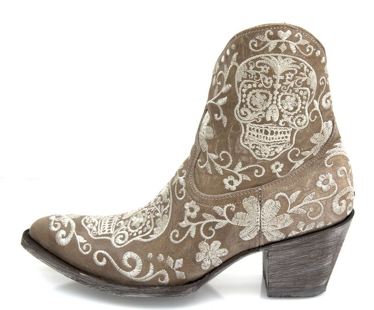 New in ! Women's short handmade boot in bone leather with Sugar Skull embroidery. from www.rsoles.com