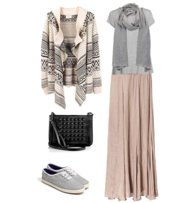 #casual Pink Maxi Skirt w/ Gray Top and Cream & Gray Cardigan http://welldressedhijabies.tumblr.com