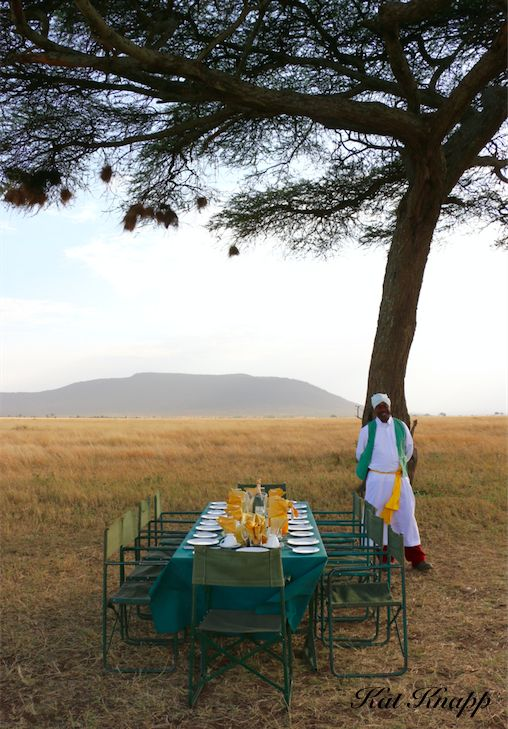 We headed off to our 'Out of Africa' breakfast in the middle of the Serengeti. This breakfast added a whole new meaning to 'breakfast of champions'.