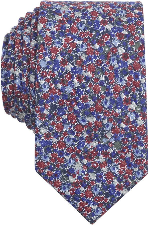 Bar III Carnaby Collection Burgundy Dandy Floral Skinny Tie, Only at Macy's