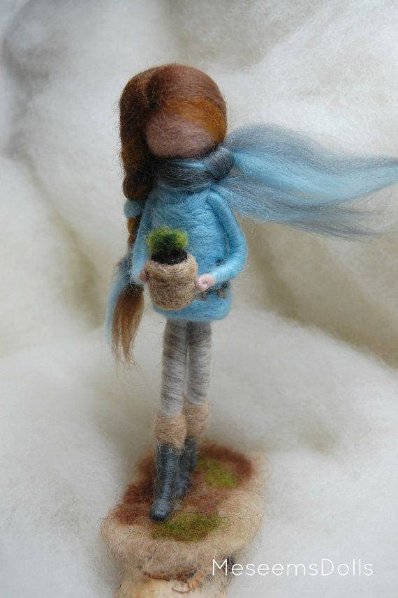 Hope,needle felted doll with flower pot, felt doll on wood stand, home decor
