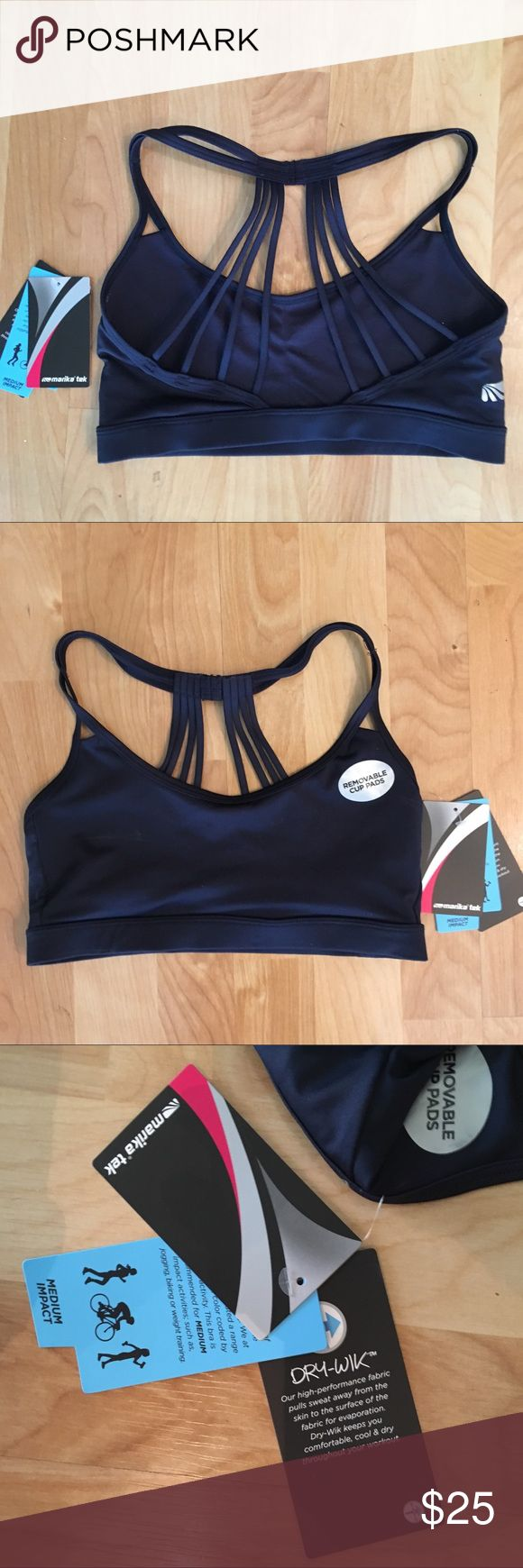 """MARIKA """"Amy"""" navy blue strappy yoga / sports bra """"Amy"""" strappy sports bra by Marika, brand new with tags. Great performance and style, comfortably light fabric is great for keeping you cool during your workout! Stock photos shown only for style, color of top is dark, navy blue. Marika Tops"""